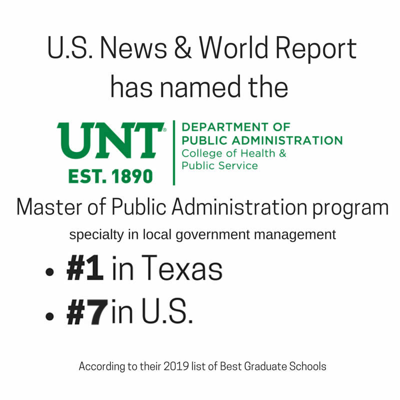 US News and World Report ranks UNT Master of Public Administration  #1 in Texas