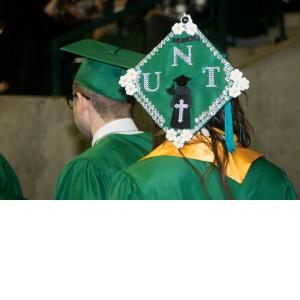 UNT Decorations on a cap