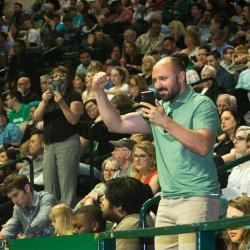 A proud Dad cheering