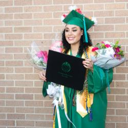 Flowers and a diploma!